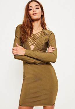 Zielona bandażowa dopasowana sukienka z długimi rękawami i paskami na dekolcie
