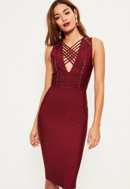 Burgundy Bandage Sleeveless Strappy Midi Dress