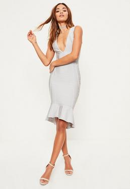 Grey Bandage Plunge Frill Hem Midi Dress