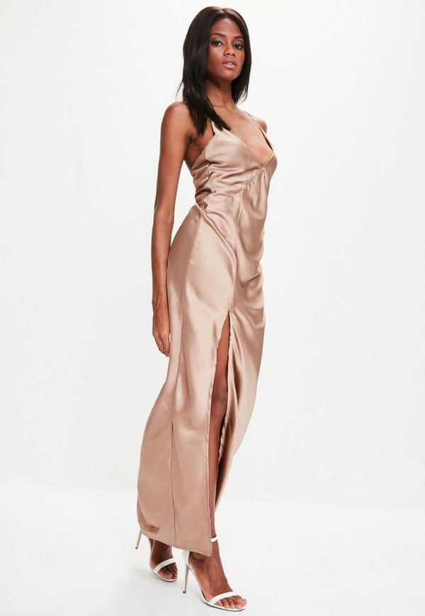 Gold Silky Plunge Maxi Dress | Missguided