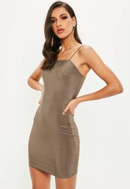 Brown Silky Gathered Top Mini Dress