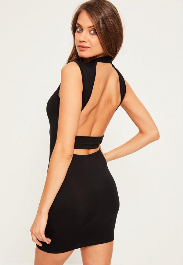 Black High Neck Open Back Strap Detail Bodycon Dress