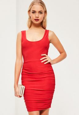 Red Slinky Scoop Neck Ruched Side Bodycon Dress