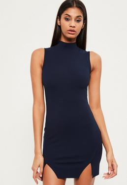 Navy High Neck Double Wrap Bodycon Dress