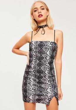 Grey Square Front Neck Snake Print Cami Dress