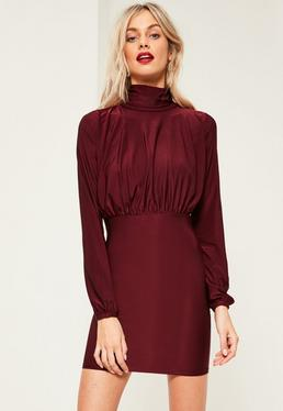 Burgundy Slinky High Neck Open Back Ruched Dress