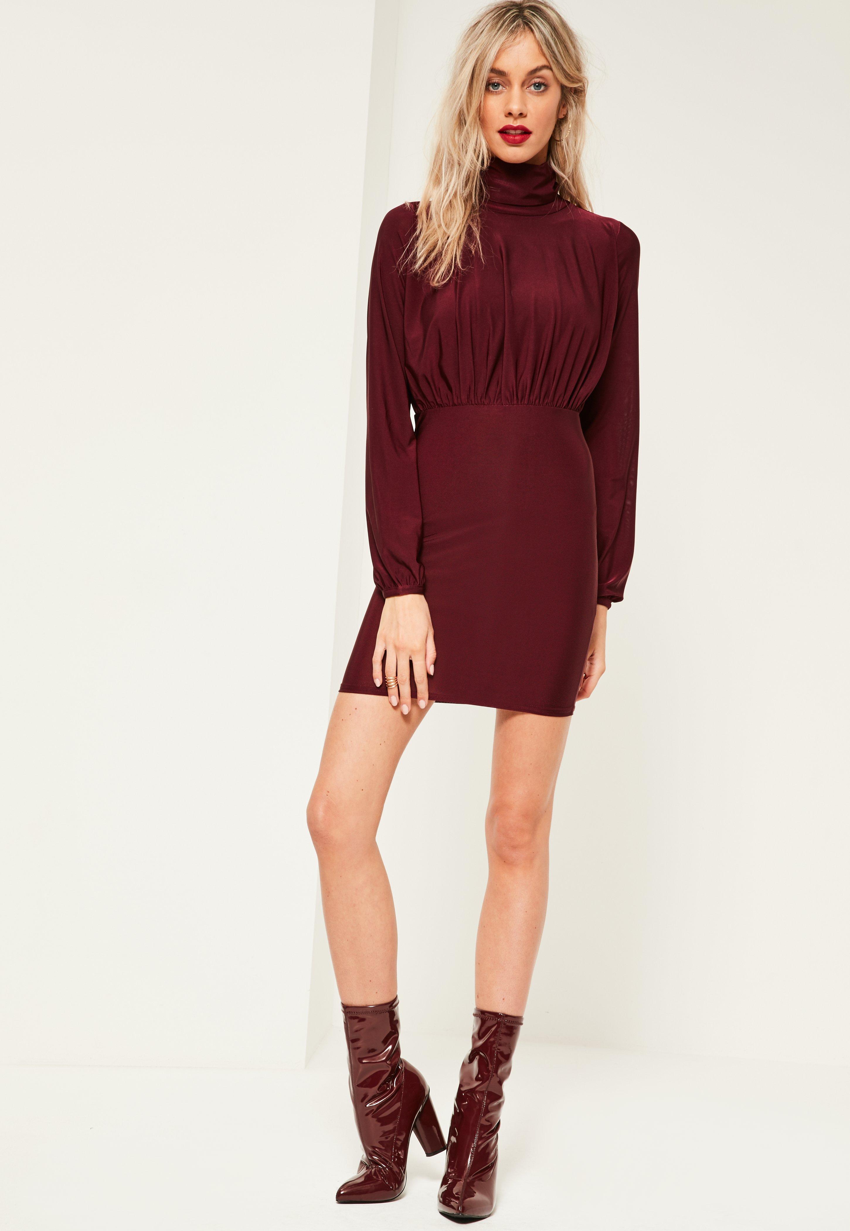 Burgundy Slinky High Neck Open Back Ruched Dress