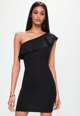 Czarna sukienka mini na jedno ramię z falbanką
