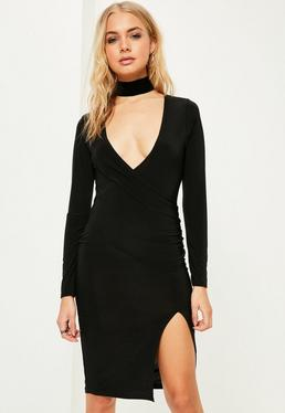 Black Long Sleeve Wrap Split hem Midi Dress