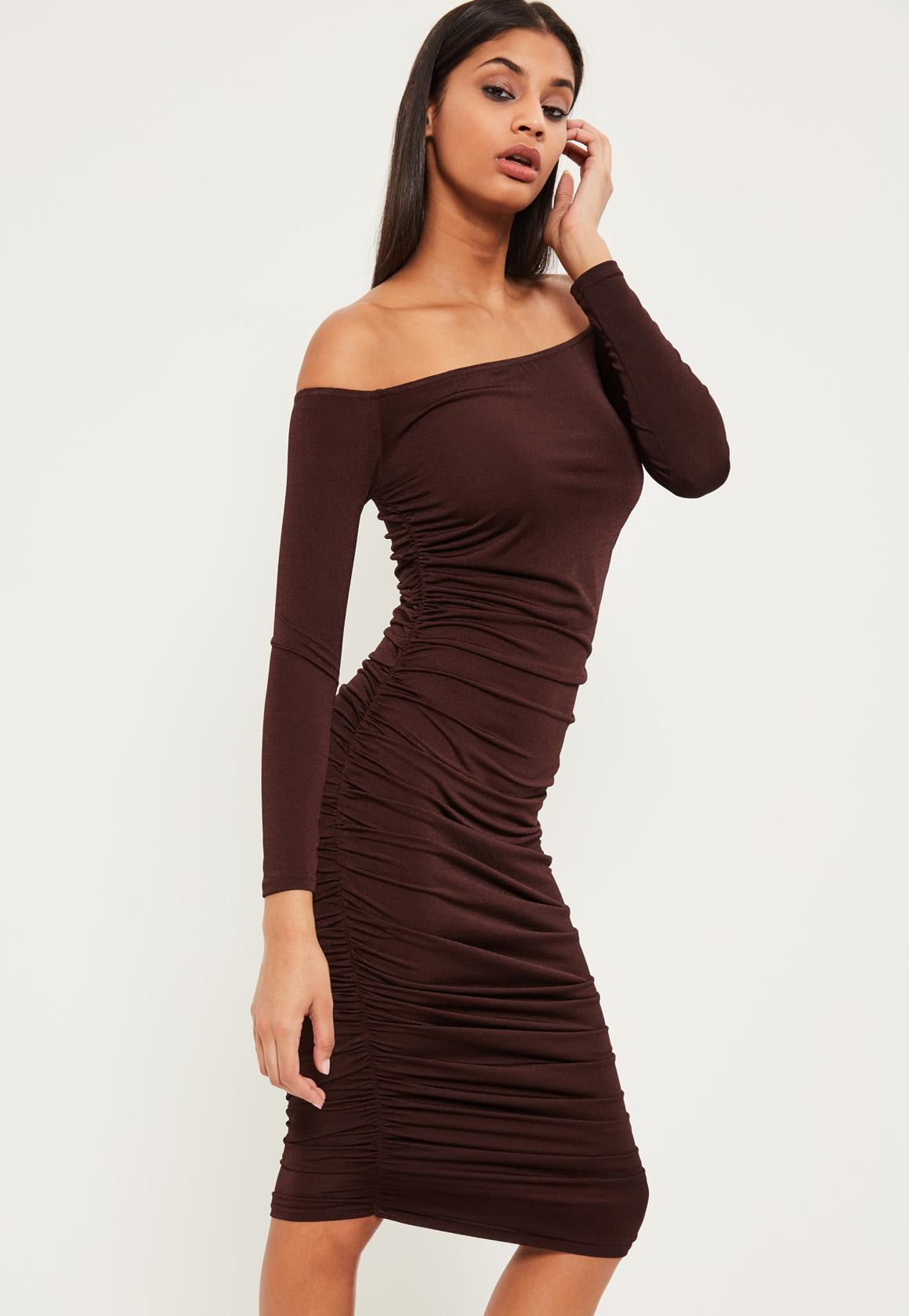 Brown Bardot Ruched Midi Dress