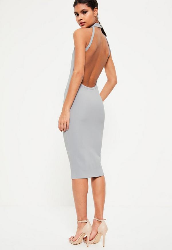 Grey High Neck Open Back Midi Dress