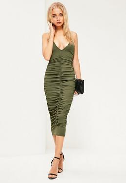 Khaki Ribbed Ruched Front Strappy Midi Dress