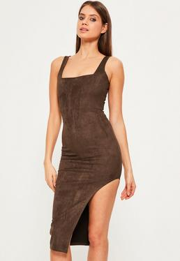 Brown Faux Suede Asymmetric Midi Dress