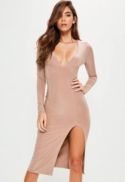 Nude Plunge Long Sleeve Side Split Midi Dress