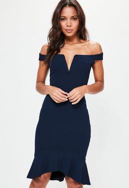 Navy V Bar Bardot Frill Bottom Dress