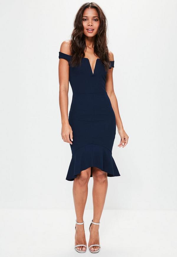 Navy V Bar Bardot Frill Bottom Dress Missguided