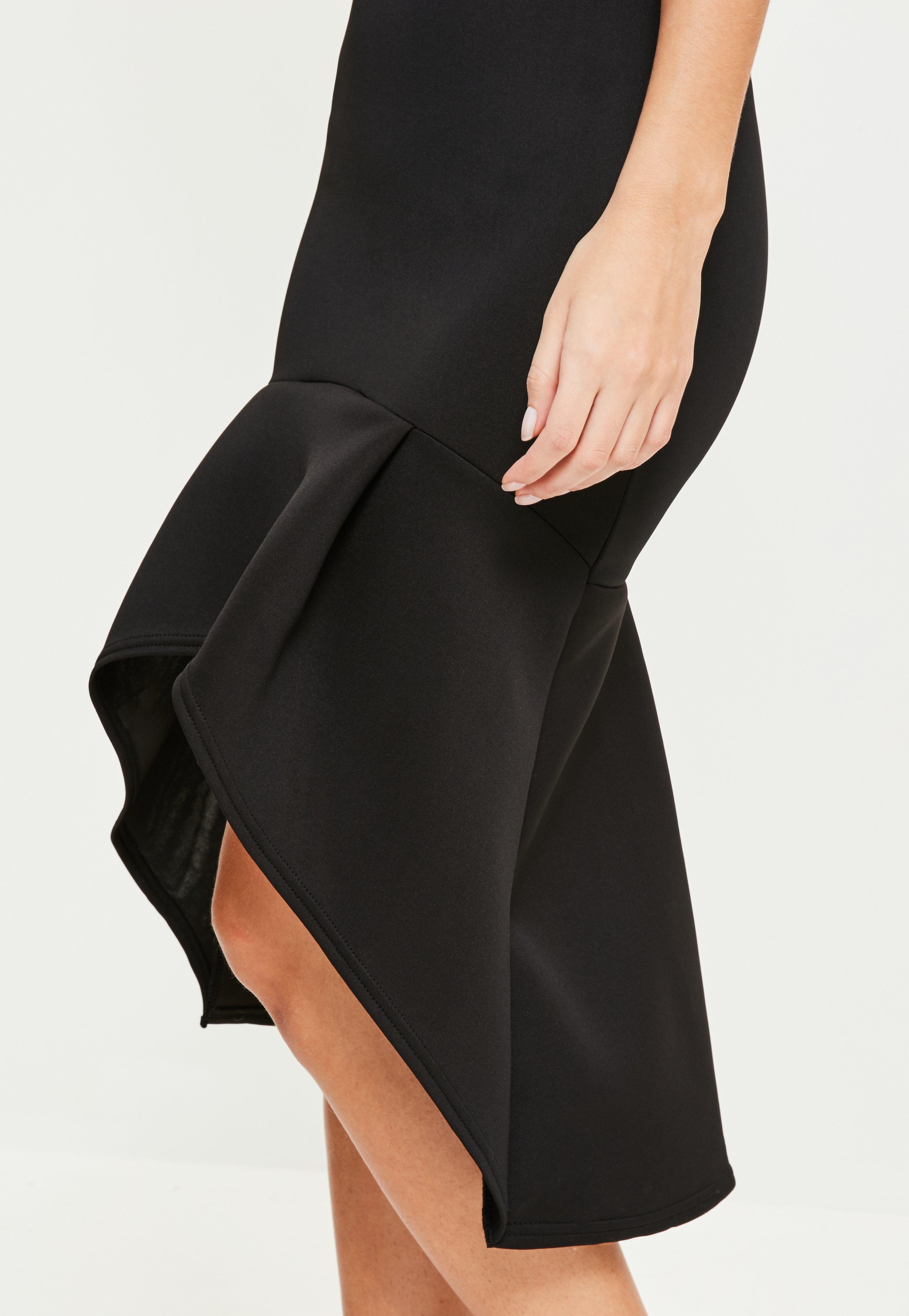 Black Sleeveless Plunge Scuba Fishtail Midi Dress