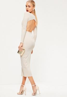 Nude Ribbed Plunge Open Back Midi Dress