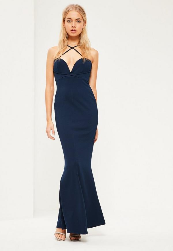 Navy V Bar Cross Front and Back Maxi Dress | Missguided