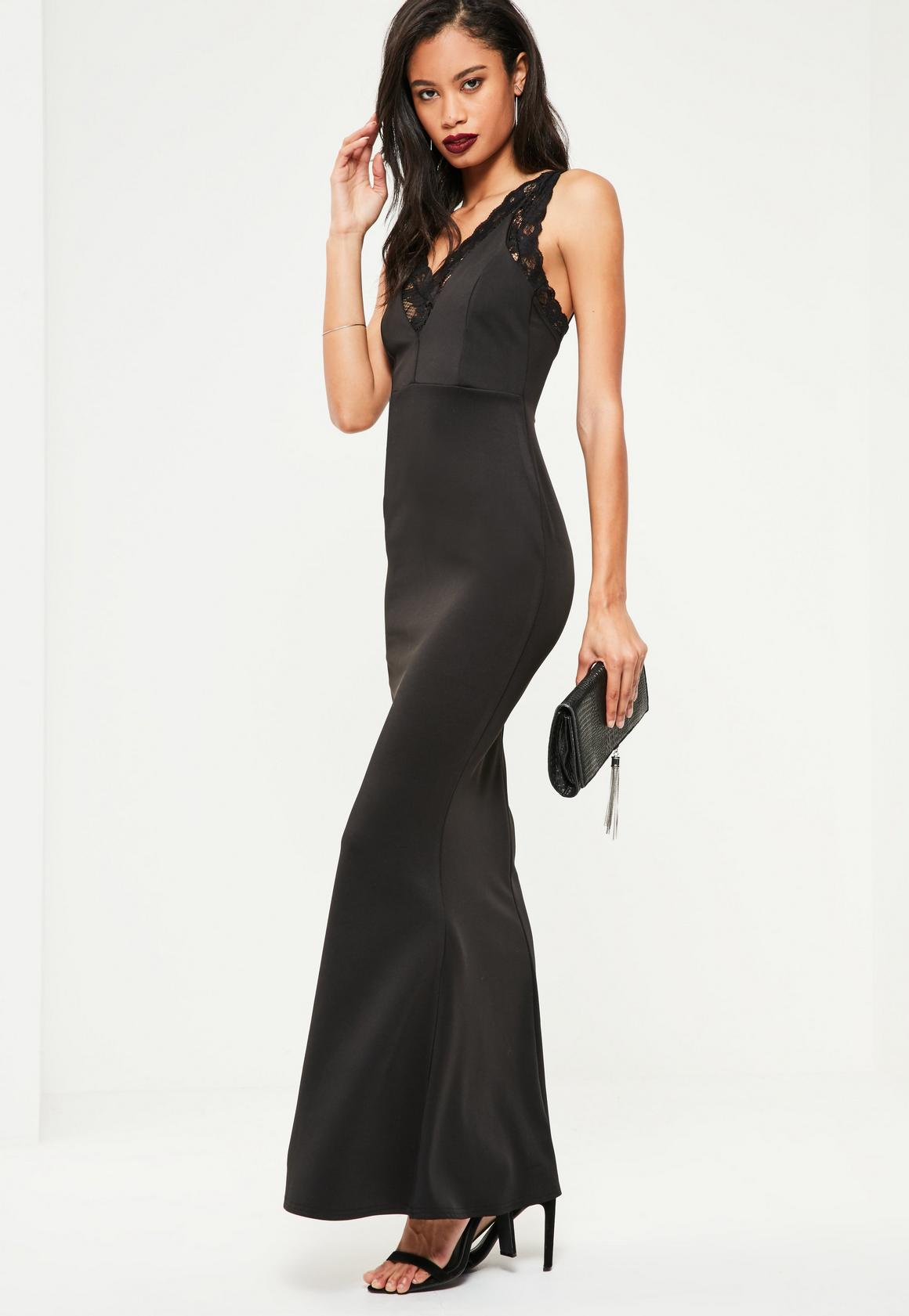 Black Under Bodice Lace Maxi Dress | Missguided