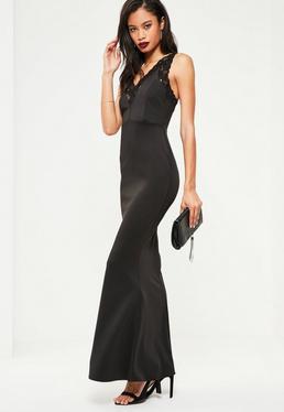 Czarna długa sukienka maxi z dodatkiem koronki