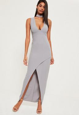 Grey Choker Neck Asymmetric Hem Maxi Dress