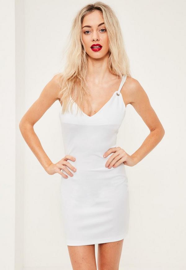 White Strappy Eyelet Detail Mini Dress