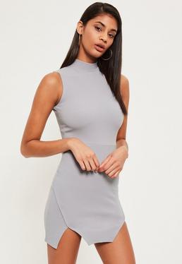 Grey High Neck Double Wrap Bodycon Dress