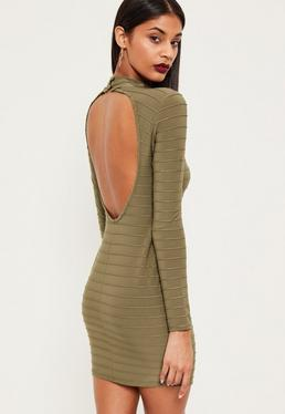 Czarna prążkowana sukienka mini z wyciętymi plecami w kolorze khaki