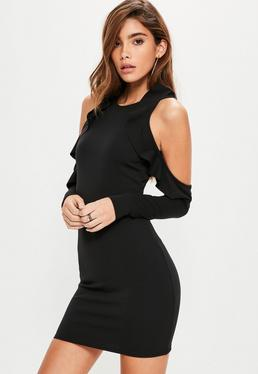 Black Cold Shoulder Detail Bodycon Dress