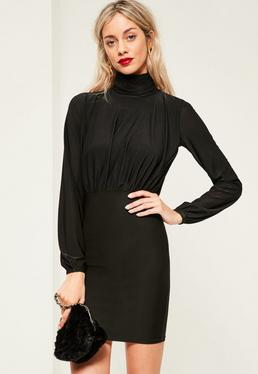 Black Slinky High Neck Open Back Ruched Dress