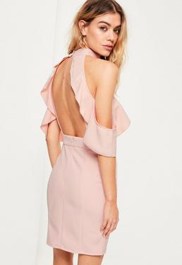Pink High Neck Cold Shoulder Mini Dress