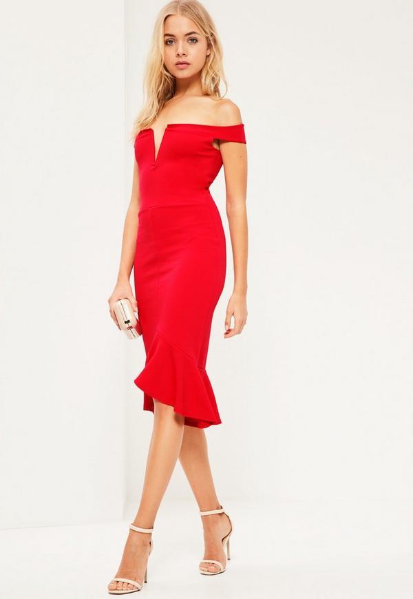 Red V Bar Bardot Frill Bottom Dress