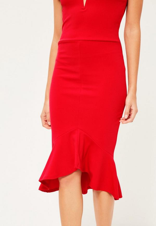 Red V Bar Bardot Frill Bottom Dress Missguided