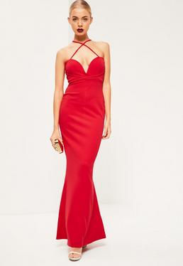 Red V Bar Cross Front and Back Maxi Dress