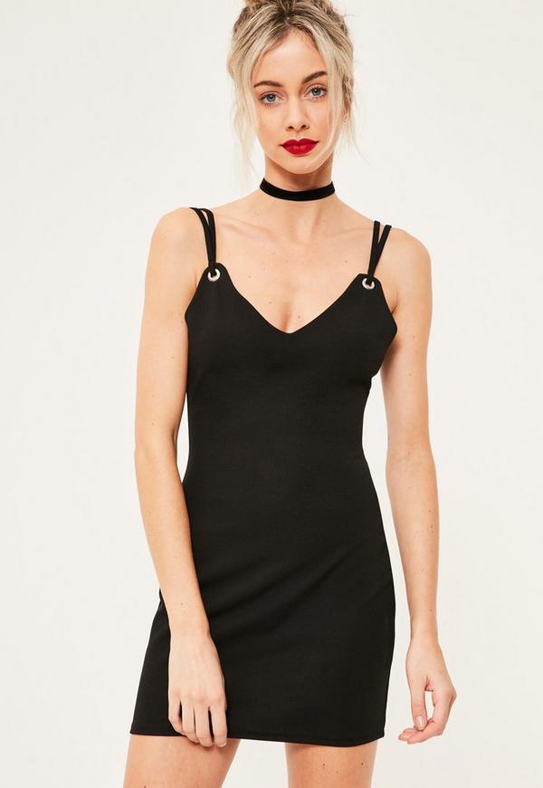 Black Strappy Eyelet Detail Mini Dress