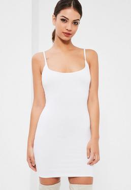 White Double Layer Slinky Strappy Cami Dress