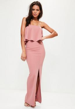 Pink Crepe Frill Side Split Maxi Dress
