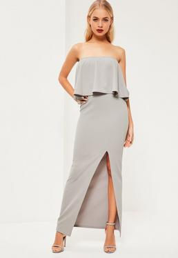 Grey Crepe Frill Side Split Maxi Dress