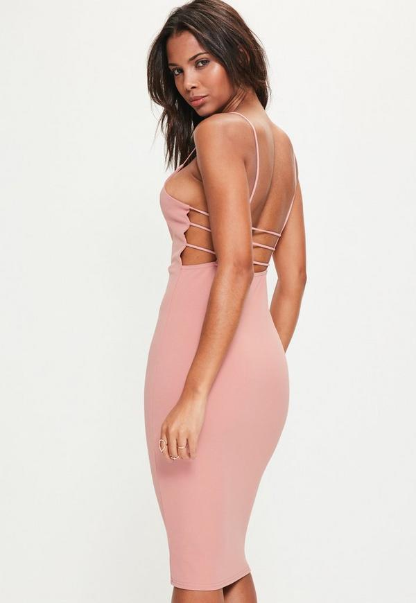 Pink Crepe Square Neck Midi Dress