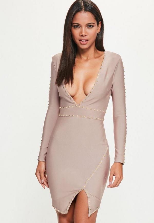 Purple Bandage Long Sleeve Plunge Stud Detail Bodycon Dress
