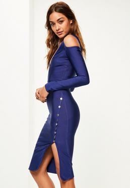 Navy Bandage Popper Detail Midi Dress