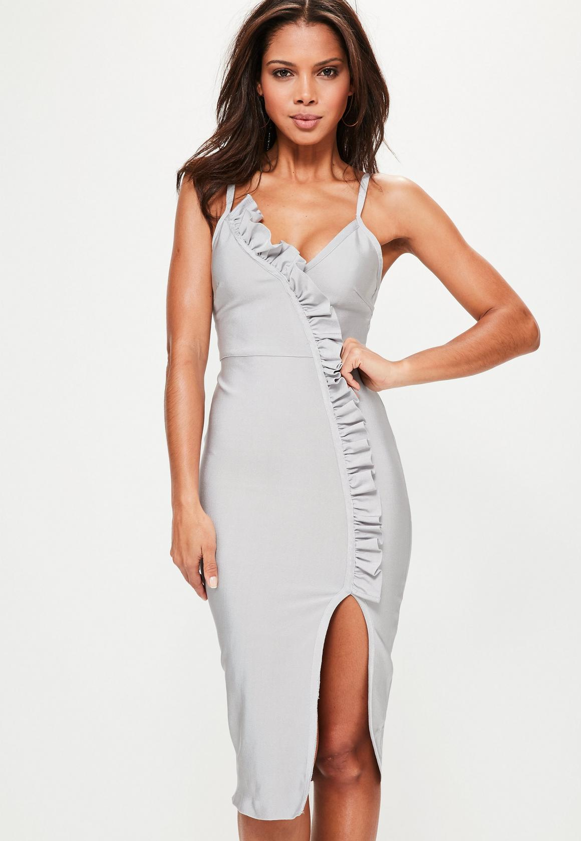 wedding guest dresses bodycon wedding dress Grey Bandage Strappy Frill Detail Midi Dress