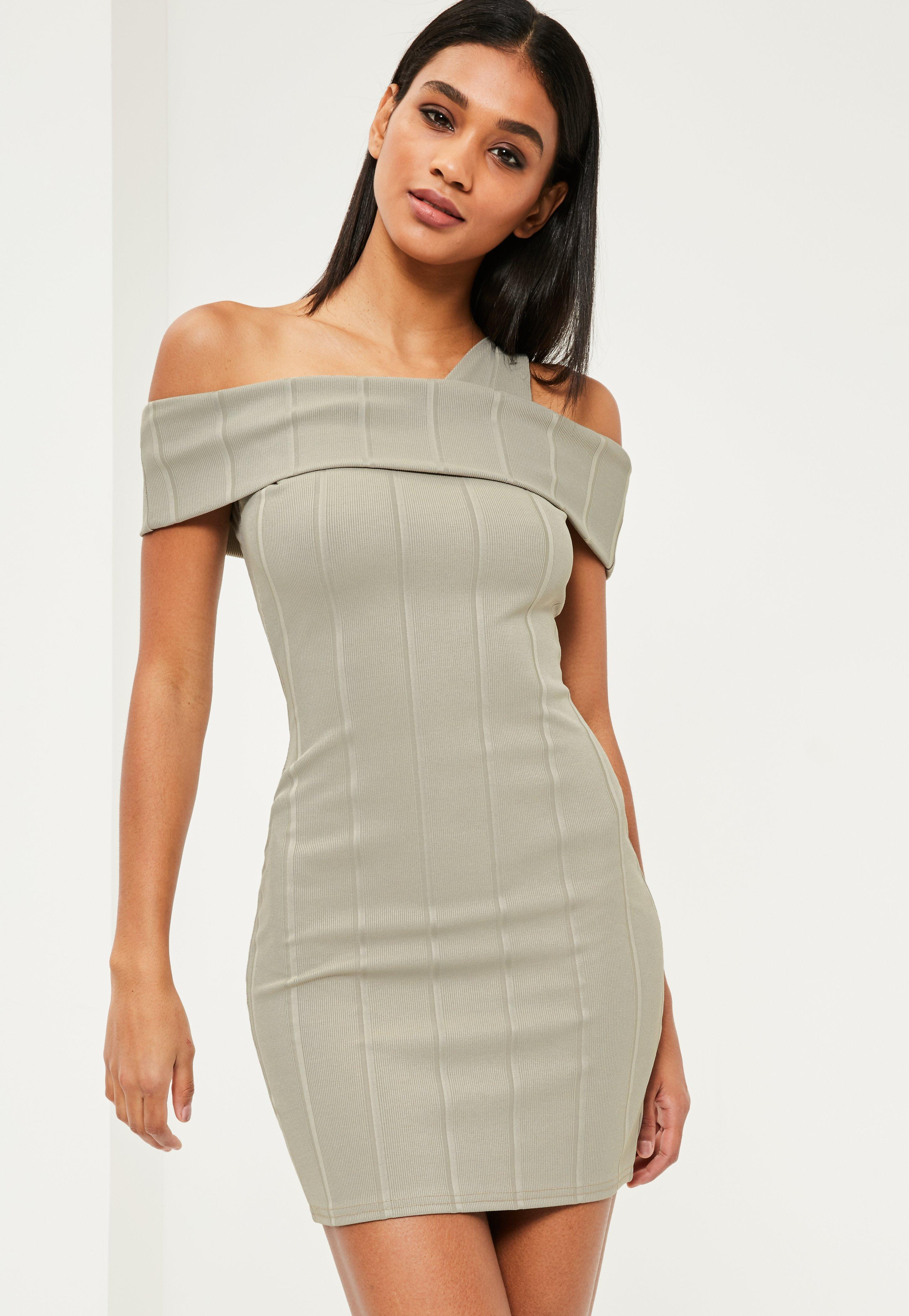 Green Ribbed Bardot Bodycon Dress