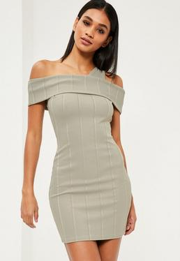 Green Ribbed Bardot Bodycon Dress