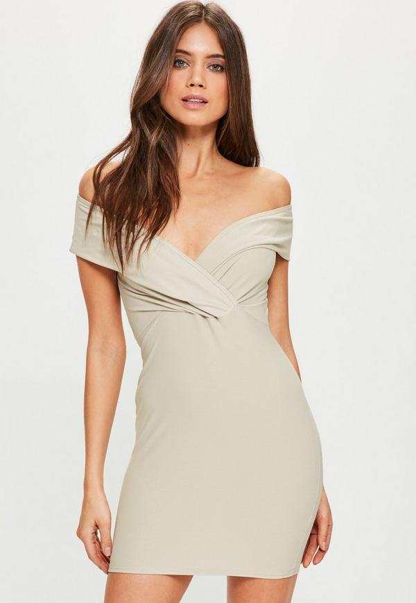 Nude Bardot Frill Bodycon Dress