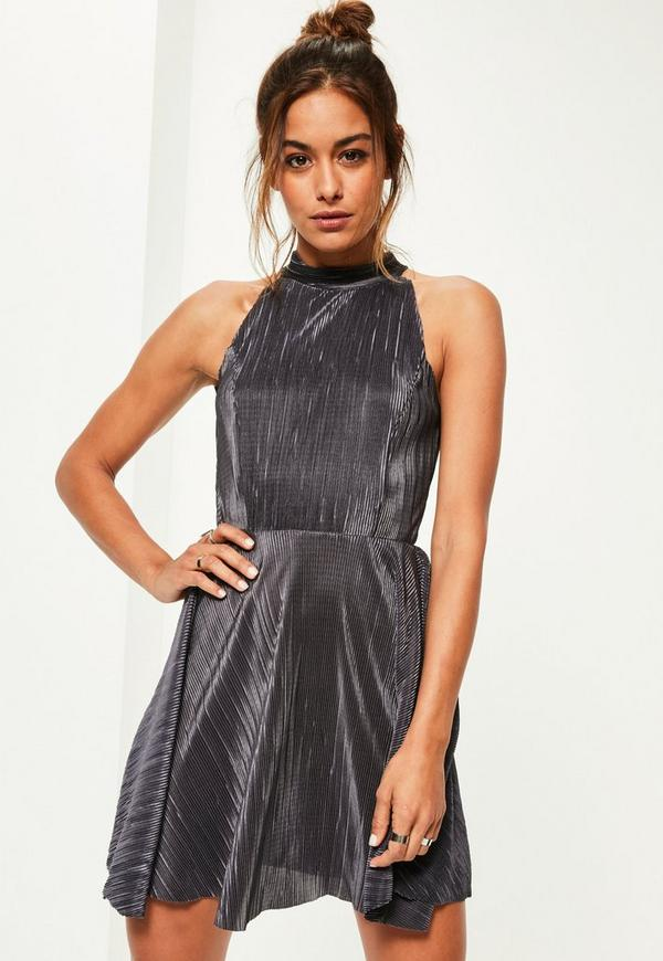 Grey Pleated High Neck Skater Dress