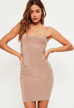 Nude Slinky Strappy Mini Dress