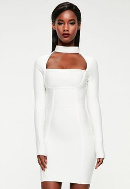 Peace + Love White Choker Neck Bandage Bodycon Dress