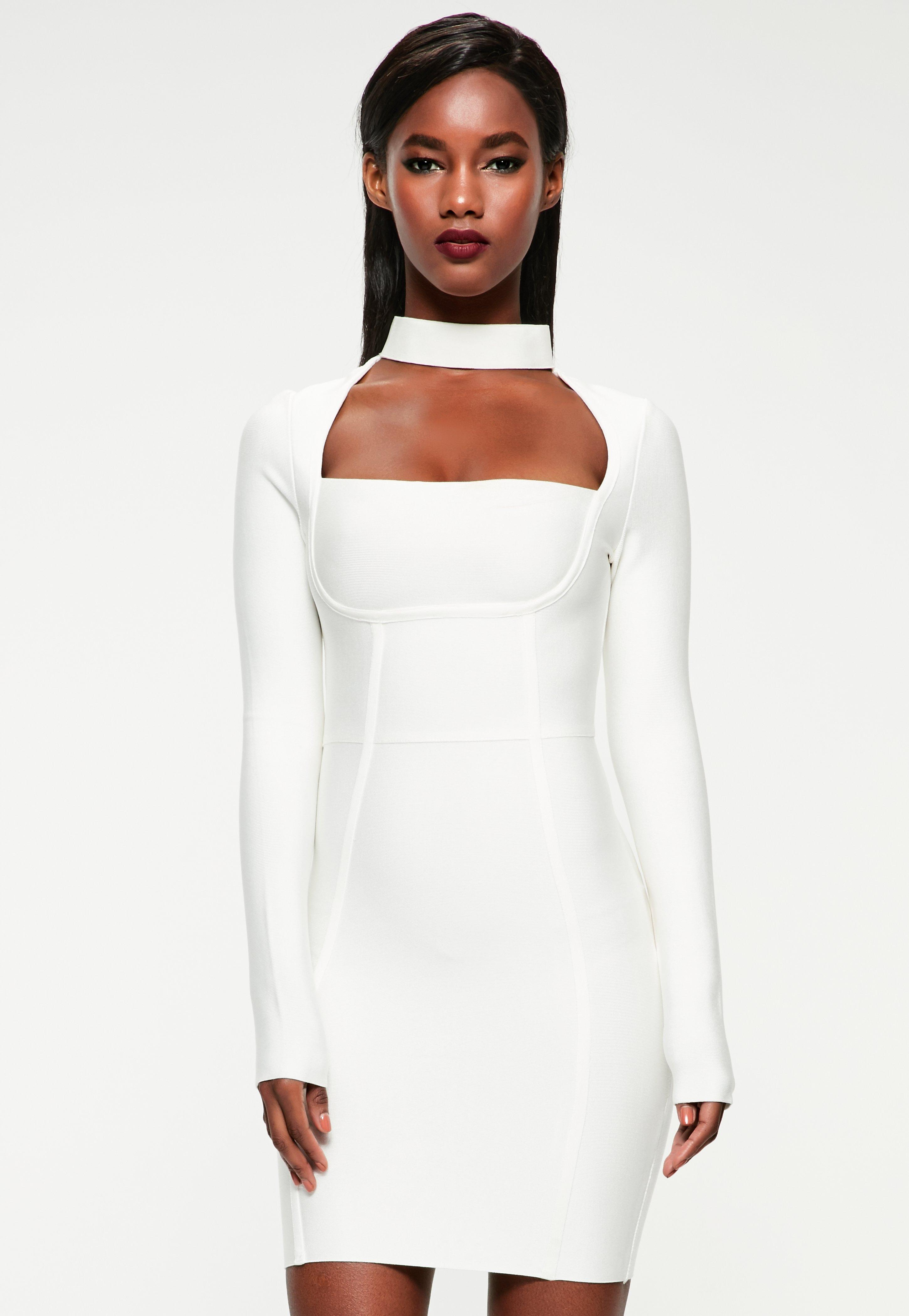 Wedding White Graduation Dresses graduation dresses and ball gowns missguided peace love white choker neck bandage bodycon dress